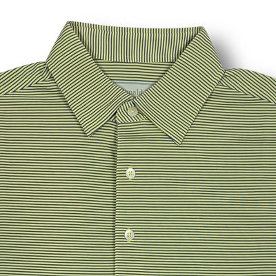 Donald Ross Mens Short Sleeve Micro Stripe JERSEY Polo, Self Collar - LEMON / ATLANTIC