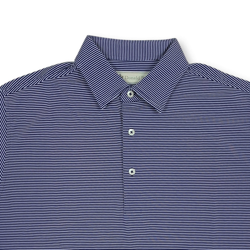 Donald Ross Mens Short Sleeve Micro Stripe JERSEY Polo, Self Collar - NAVY / CREAM