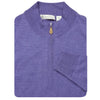Mens 1/2 Zip Lightweight Merino Wool Pullover - LONG SLEEVE - IRIS MELANGE