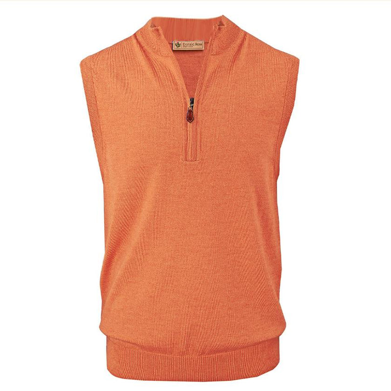 Donald Ross Mens 1/2 Zip 100% Merino Wool Vest - CITRUS