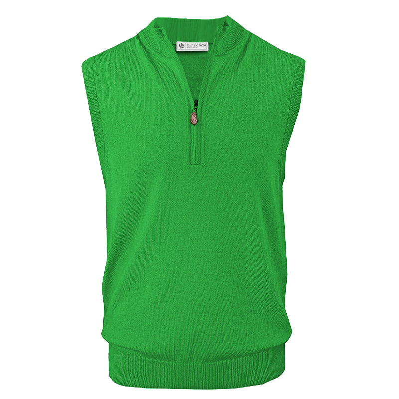 Donald Ross Mens 1/2 Zip 100% Merino Wool Vest - IRISH