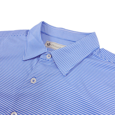 Donald Ross Mens 2 Color Micro Stripe on JERSEY SELF COLLAR Polo - PROVENCE / CREAM