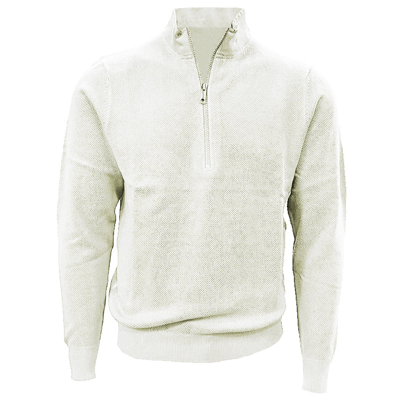 Donald Ross Mens 1/2 Zip Lightweight Longsleeves Stretch Knit Cotton Pullover - CREAM