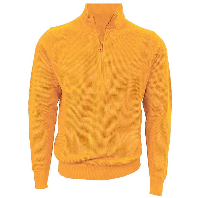 Donald Ross Mens 1/2 Zip Lightweight Longsleeves Stretch Knit Cotton Pullover  - HONEY