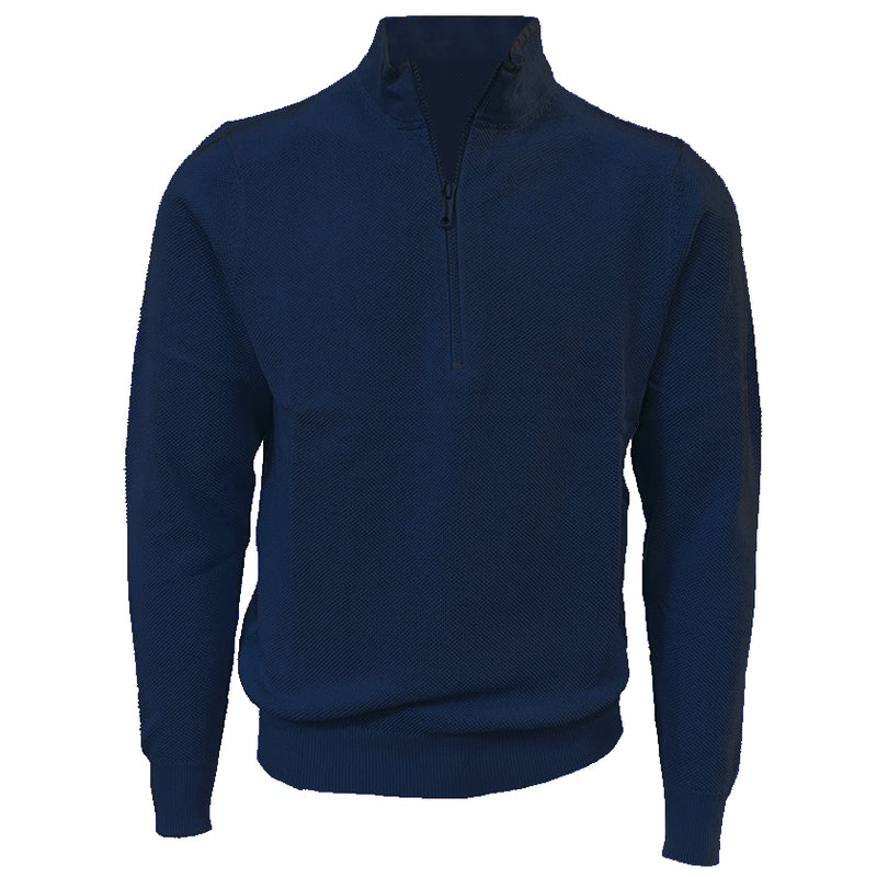 Donald Ross Mens 1/2 Zip Lightweight Longsleeves Stretch Knit Cotton Pullover - NAVY