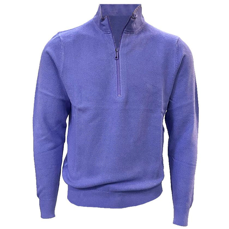 Donald Ross Mens 1/2 Zip Lightweight Longsleeves Stretch Knit Cotton Pullover  - PERIWINKLE