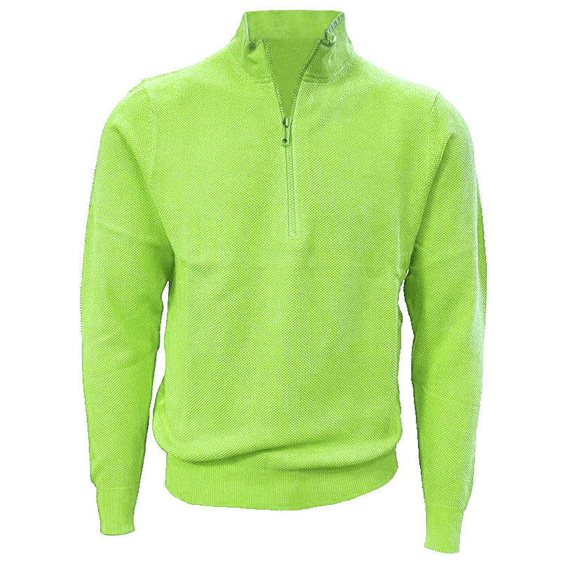 Donald Ross Mens 1/2 Zip Lightweight Longsleeves Stretch Knit Cotton Pullover  - LIME