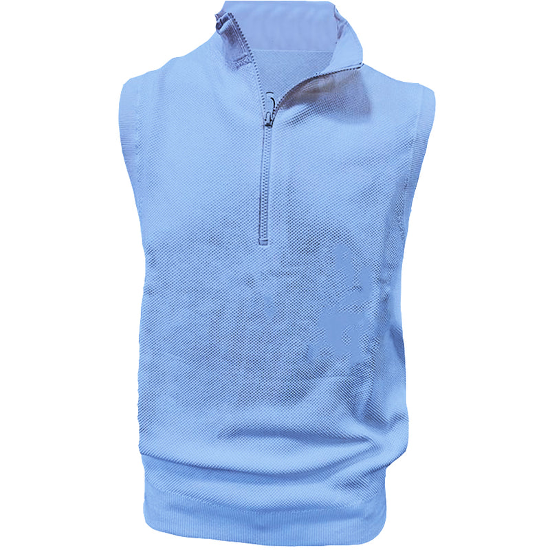 Donald Ross Mens 1/2 Zip Lightweight Sleeveless Stretch Knit Cotton Vest  - PACIFIC