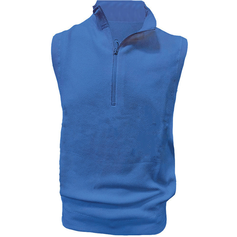 Donald Ross Mens 1/2 Zip Lightweight Sleeveless Stretch Knit Cotton Vest  - PATRIOT