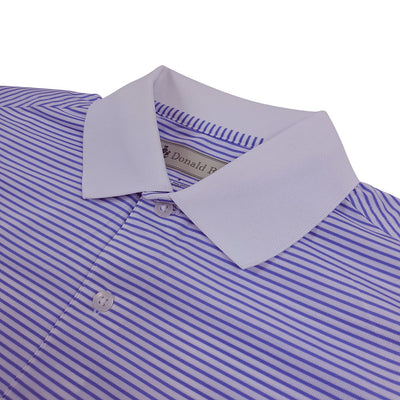Donald Ross Mens Short Sleeve 2 Color Stripe JERSEY Polo, Knit Collar - WHITE / JUNIPER