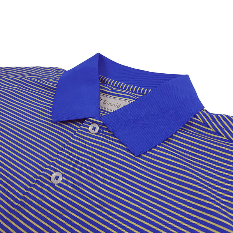 Donald Ross Mens Short Sleeve 2 Color Stripe JERSEY Polo, Knit Collar - ATLANTIC / LEMON