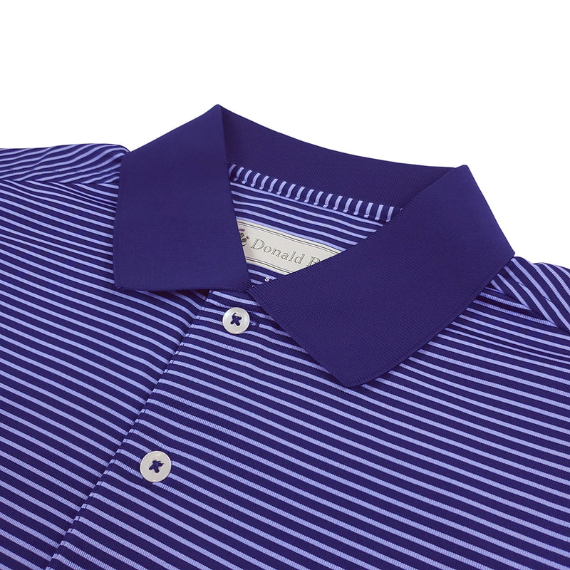 Donald Ross Mens Short Sleeve 2 Color Stripe JERSEY Polo, Knit Collar - NAVY / JUNIPER