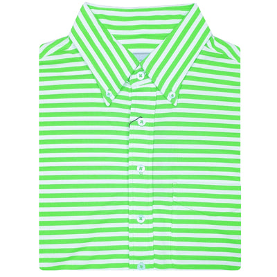 "Mens Short Short Sleeve 2 color ""Bold Stripe"" PIQUE SELF COLLAR, LEFT POCKET - KEYLIME/CREAM"
