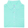 "Mens Short Short Sleeve 2 color ""Bold Stripe"" PIQUE SELF COLLAR, LEFT POCKET - SEAFOAM/CREAM"