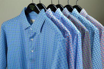 Donald Ross Mens Short Sleeve MULTICOLORED TATTERSAL CHECK PRINT polo, Self Collar - NAVY/MULTI