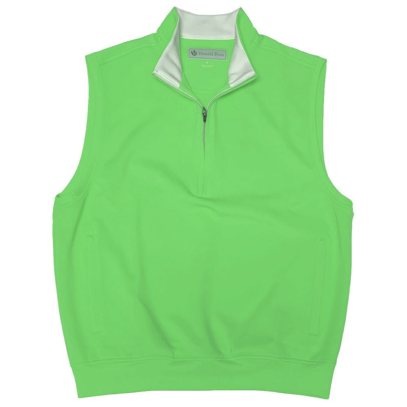 Donald Ross Sleeveless 1/2 Zip Pullover - KELLY GREEN