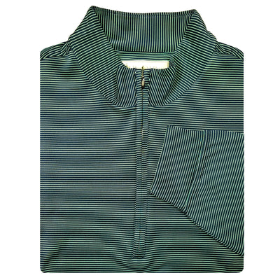 Mens 1/2 Zip Pullover with 2 Lower Pockets - LONG SLEEVE - NAVY/IRISH GREEN