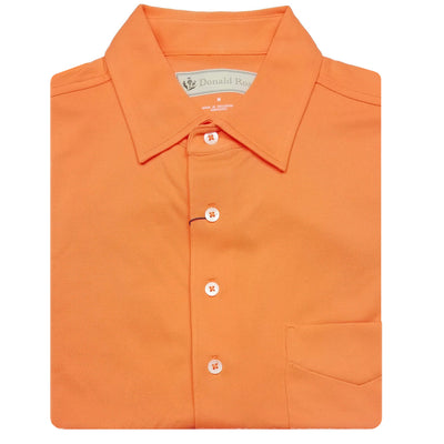 Donald Ross Short Sleeve Classic PIQUE, SELF COLLAR, LEFT POCKET - TANGERINE