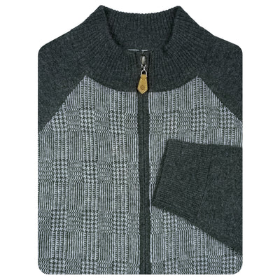 Mens Plaid Lightweight Sweater Jacket - Long Sleeve - CHARCOAL