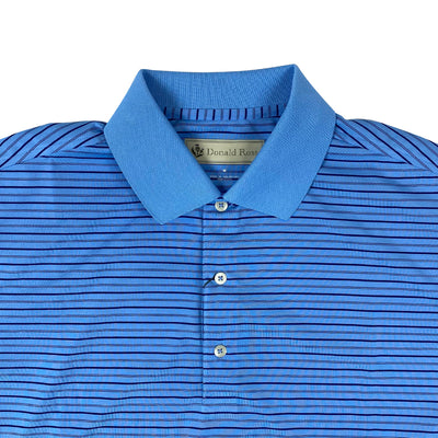 Donald Ross Mens Short Sleeve Multi Stripe JERSEY SELF Collar - PACIFIC/NAVY