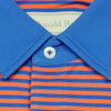 Mens Short Sleeve 2 Color Bold Stripe PIQUE on SOLID SELF COLLAR - ADMIRAL BLUE/PUMPKIN