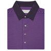 Mens Short Sleeve 2 Color Bold Stripe PIQUE on SOLID SELF COLLAR - BLACK/ORCHID