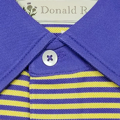 Mens Short Sleeve 2 Color Bold Stripe PIQUE on SOLID SELF COLLAR - BLUE IRIS/ LEMON
