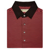 Mens Short Sleeve 2 Color Bold Stripe PIQUE on SOLID SELF COLLAR - BLACK/PAPRIKA