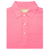 Mens Short Sleeve 2 color micro stripe on JERSEY SELF COLLAR - AZALEA/CREAM