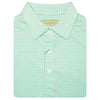 Mens Short Sleeve 2 color micro stripe on JERSEY SELF COLLAR - WHITE/SEAFOAM