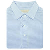 Mens Short Sleeve 2 color micro stripe on JERSEY SELF COLLAR - WHITE/OCEAN