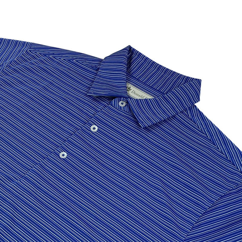 Donald Ross Mens Short Sleeve FANCY Multi Stripe JERSEY Polo, Knit Collar - ATLANTIC BLUE / MINT