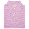Mens Short Sleeve 2 color micro stripe on JERSEY SELF COLLAR - WHITE/ROSEBUD
