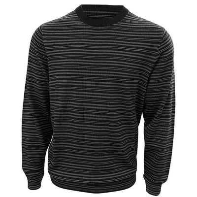 Donald Ross Mens 100% MERINO WOOL Striped Sweater - CHARCOAL