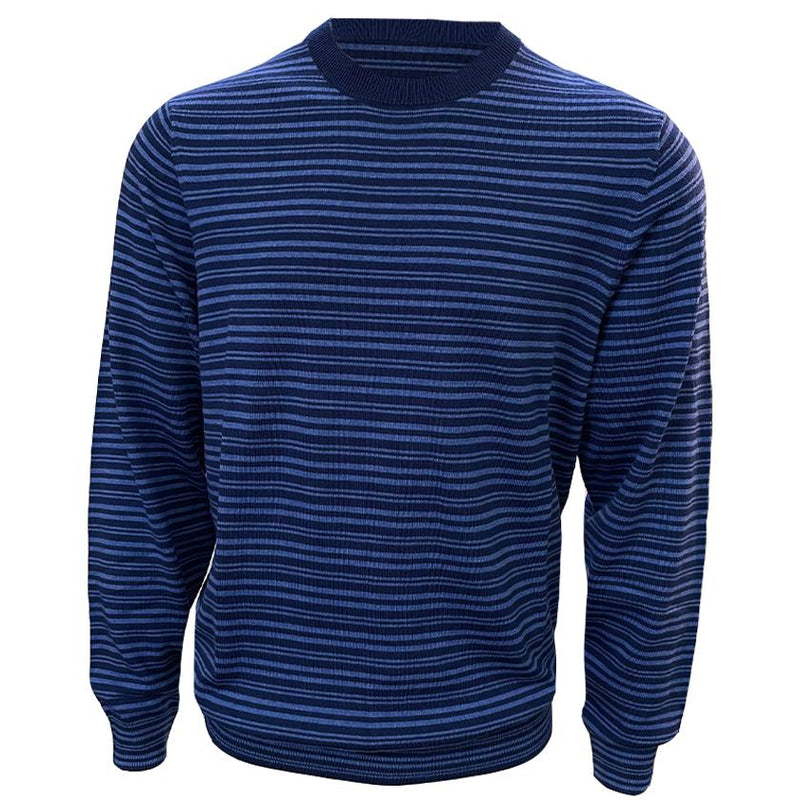 Donald Ross Mens 100% MERINO WOOL Striped Sweater - NAVY