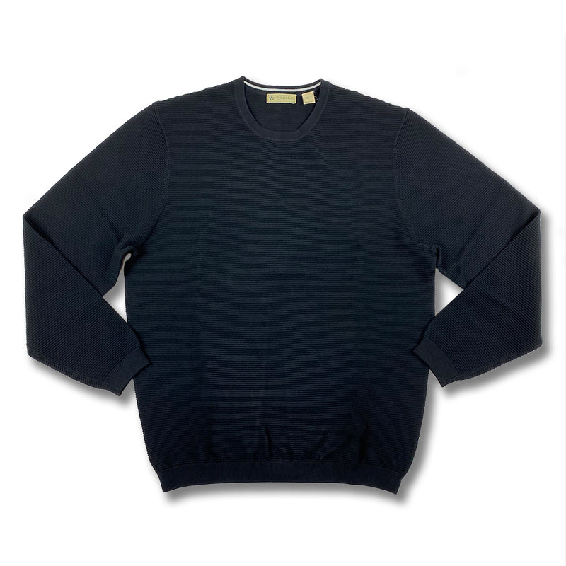 Donald Ross Mens Long Sleeves Solid Crewneck - BLACK