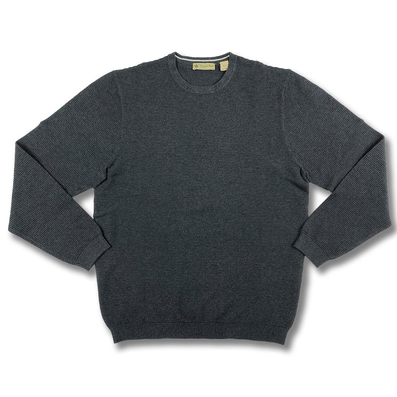 Donald Ross Mens Long Sleeves Solid Crewneck - CHARCOAL