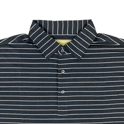 Donald Ross Mens Long Sleeves 2 Color Melange Pencil Stripe Jersey Polo - BLACK