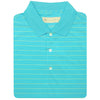 Mens Short Sleeve 2 Color Pencil Stripe JERSEY - KNIT COLLAR - AQUA/BUTTER