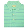 Mens Short Sleeve 2 Color Pencil Stripe JERSEY - KNIT COLLAR - SEAFOAM/ATLANTIC