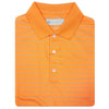 Mens Short Sleeve 2 Color Pencil Stripe JERSEY - KNIT COLLAR - TANGERINE/AQUA