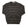 Donald Ross Long Sleeve Striped Crew Neck - CHARCOAL