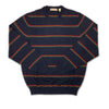 Donald Ross Long Sleeve Striped Crew Neck - NAVY