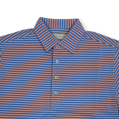 Donald Ross Mens Short Sleeve Bold Stripe Pique Polo, Self Collar - PACIFIC BLUE / CITRUS