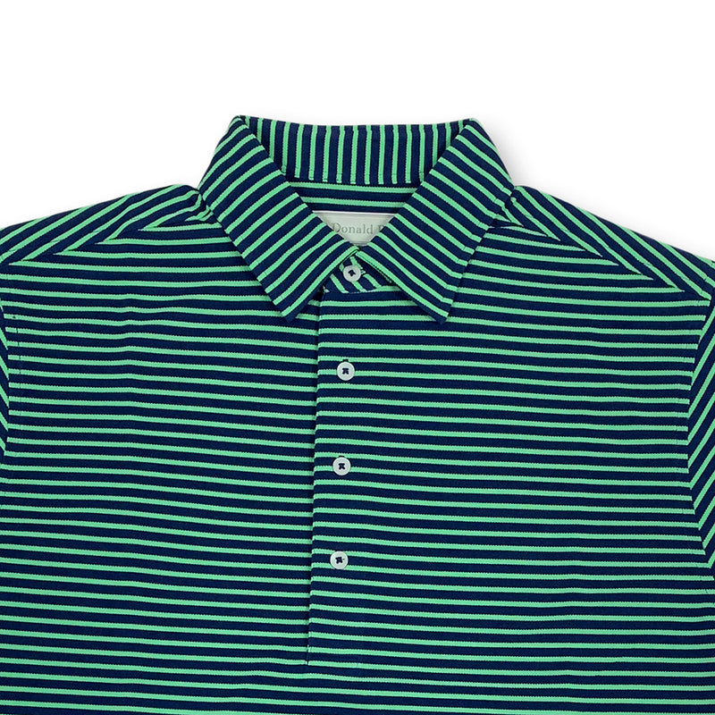 Donald Ross Mens Short Sleeve Bold Stripe Pique Polo, Self Collar - NAVY / KELLY GREEN