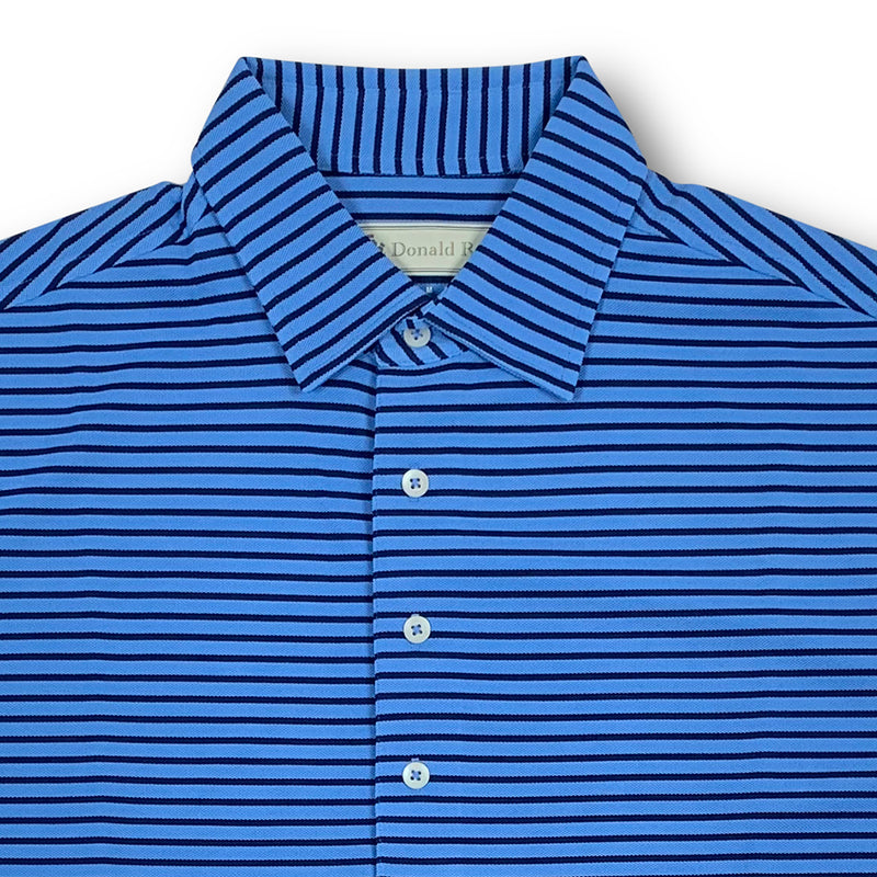 Donald Ross Mens Short Sleeve Bold Stripe Pique Polo, Self Collar - PACIFIC BLUE / NAVY