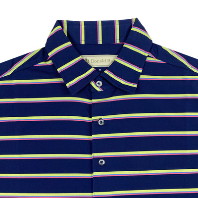Donald Ross Mens Short Sleeves 4 Color Bold Stripe Polo - NAVY