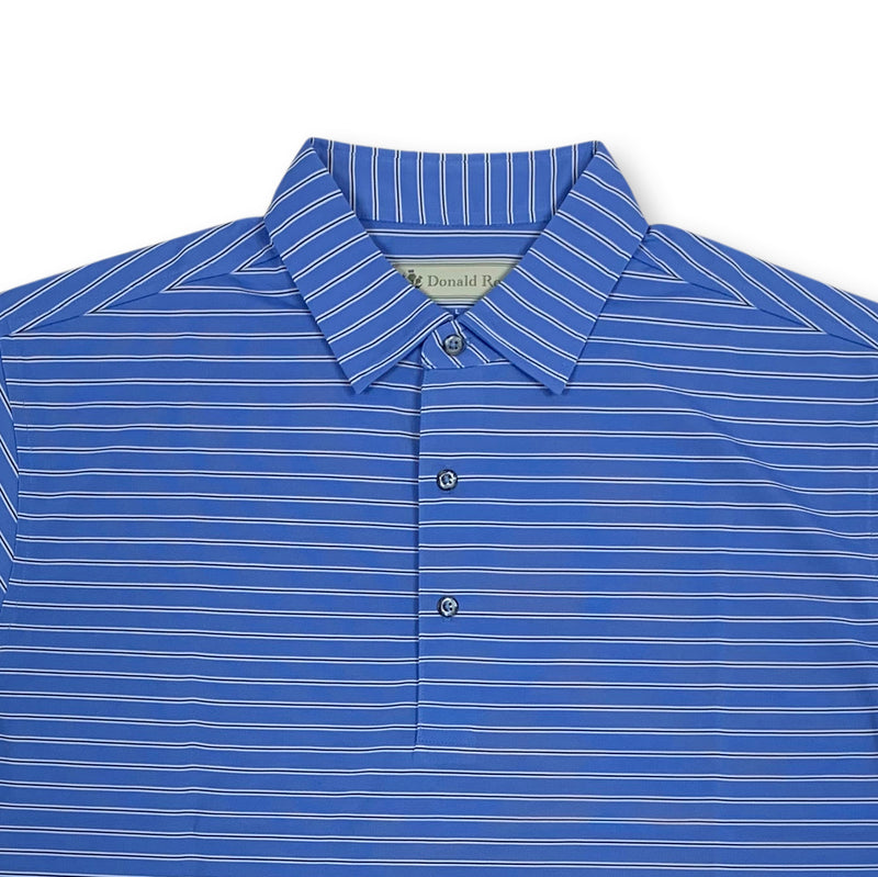 Donald Ross Short sleeve 3-color FRAME stripe JERSEY SELF Collar - GULF BLUE / NAVY / CREAM