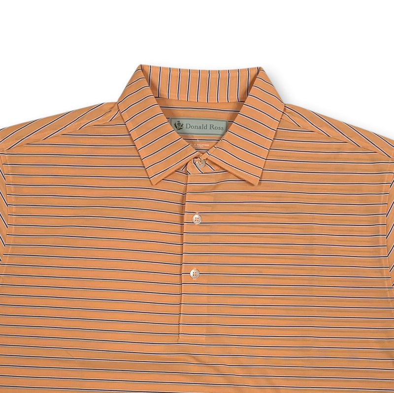 Donald Ross Short sleeve 3-color FRAME stripe JERSEY SELF Collar - MANDARIN / NAVY / CREAM
