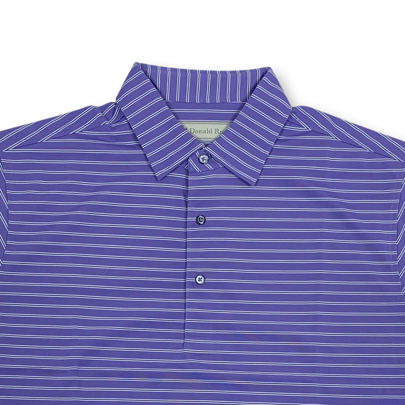 Donald Ross Short sleeve 3-color FRAME stripe JERSEY SELF Collar - PLUM / NAVY / CREAM